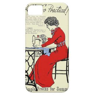 Capa Para iPhone 5 Senhora no vestido vermelho na máquina de costura