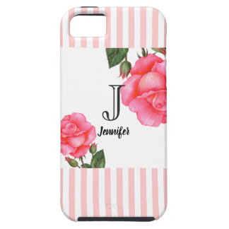 Capa Para iPhone 5 Teste padrão cor-de-rosa das listras dos rosas do
