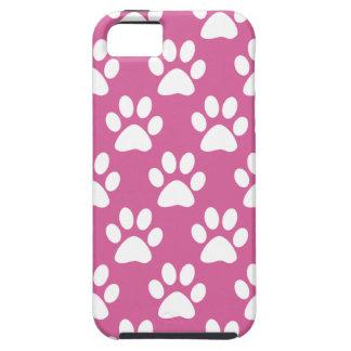 Capa Para iPhone 5 Teste padrão cor-de-rosa e branco das patas do