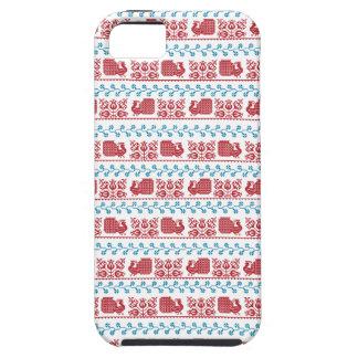 Capa Para iPhone 5 Teste padrão nórdico do bordado (pavão e flores)