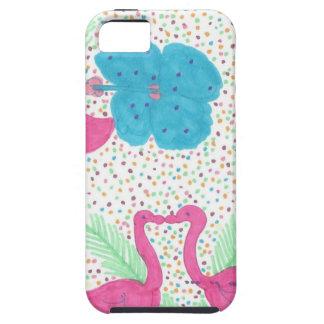 Capa Para iPhone 5 Teste padrão tropical do divertimento do flamingo