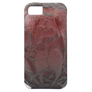 Capa Para iPhone 5 Vaso de vidro do pássaro do art deco vermelho