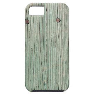 Capa Para iPhone 5 Verde e passagem de madeira da prancha de Brown