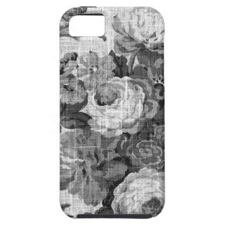 Capa Para iPhone 5 Vintage cinzento preto & branco Toile floral No.4