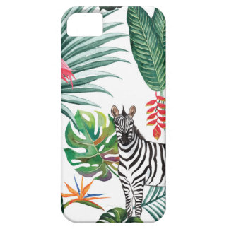 Capa Para iPhone 5 Zebra e flamingo tropicais da cópia da aguarela