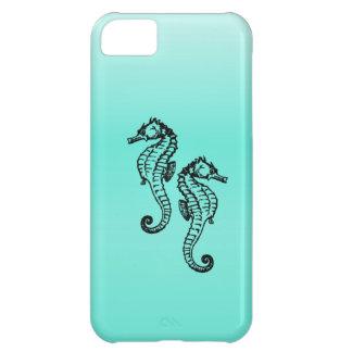 Capa Para iPhone 5C Aqua dos cavalos marinhos