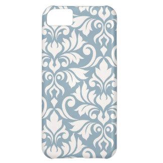 Capa Para iPhone 5C Arte que do damasco do Flourish eu desnato no azul
