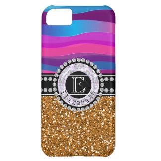 Capa Para iPhone 5C Azul cor-de-rosa feminino, brilho do ouro,