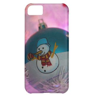 Capa Para iPhone 5C Boneco de neve - bolas do Natal - Feliz Natal