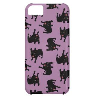 Capa Para iPhone 5C Bonito todo o filhote de cachorro rajado preto do
