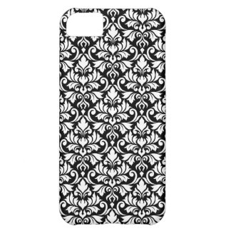 Capa Para iPhone 5C Branco da cor damasco do Flourish no preto