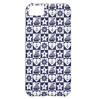Capa Para iPhone 5C Branco náutico dos azuis marinhos checkered