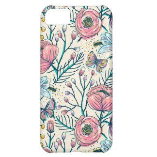 Capa Para iPhone 5C Caso chique do iPhone 5C da flor do rosa do rosa