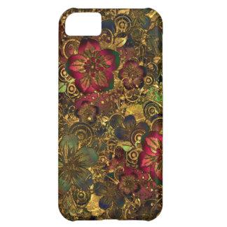 Capa Para iPhone 5C Caso floral do teste padrão do ouro