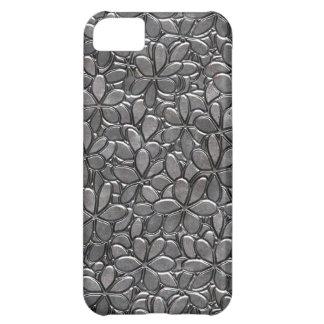 Capa Para iPhone 5C Caso floral metálico de prata do teste padrão