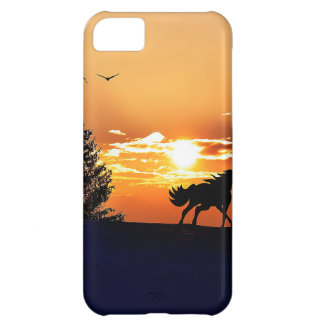Capa Para iPhone 5C cavalo running - cavalo do por do sol - cavalo