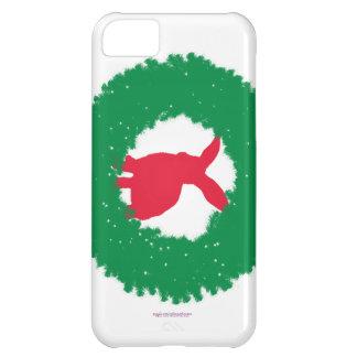 Capa Para iPhone 5C Coelho de coelho do Natal em uma grinalda