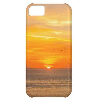 Capa Para iPhone 5C Costa do por do sol com Sun alaranjado e pássaros