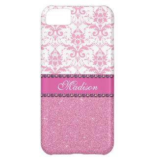 Capa Para iPhone 5C Damasco cor-de-rosa e branco feminino, nome