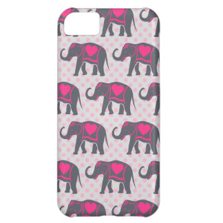 Capa Para iPhone 5C Elefantes cor-de-rosa quentes cinzentos bonito em