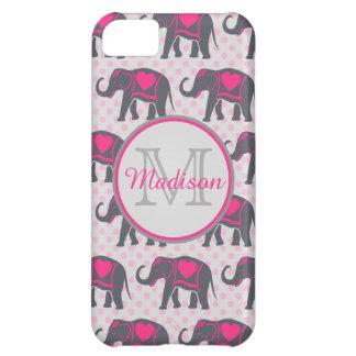 Capa Para iPhone 5C Elefantes cor-de-rosa quentes cinzentos em