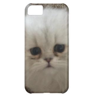 Capa Para iPhone 5C Gatinho macio branco dos olhos tristes que olha
