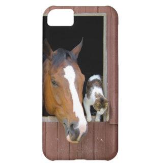 Capa Para iPhone 5C Gato e cavalo - rancho do cavalo - amantes do