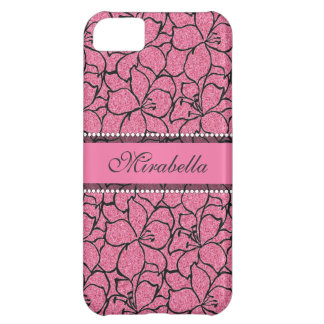 Capa Para iPhone 5C Lírios cor-de-rosa luxúrias com esboço preto,