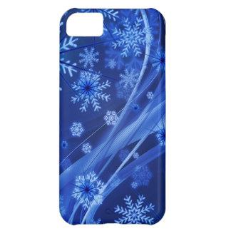 Capa Para iPhone 5C Natal azul dos flocos de neve do inverno