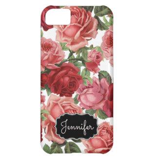 Capa Para iPhone 5C Nome floral dos rosas rosas vermelha elegantes