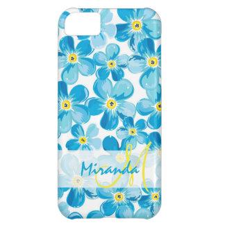 Capa Para iPhone 5C O azul vibrante da aguarela esquece-me não nome