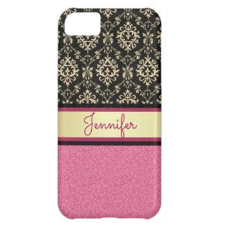 Capa Para iPhone 5C O brilho cor-de-rosa, ouro preto roda nome do