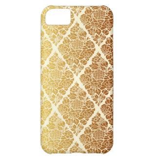 Capa Para iPhone 5C O vintage, ouro, damasco, floral, teste padrão,