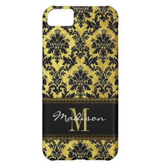 Capa Para iPhone 5C Preto & damasco floral do ouro, laço, nome &