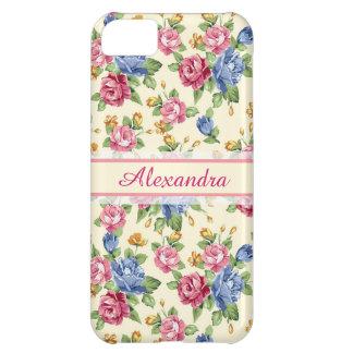 Capa Para iPhone 5C Rosa romântico Pastel da flor, vermelho, nome azul