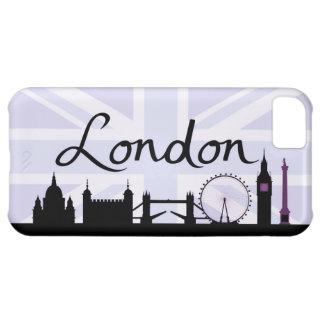 Capa Para iPhone 5C Roteiro de Londres no céu de Union Jack & locais