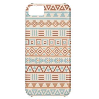 Capa Para iPhone 5C Terracottas astecas do azul do creme do teste