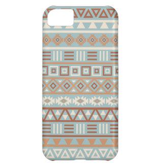 Capa Para iPhone 5C Terracottas de creme azuis do teste padrão asteca
