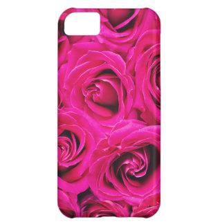 Capa Para iPhone 5C Teste padrão roxo cor-de-rosa romântico dos rosas