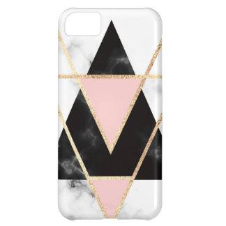 Capa Para iPhone 5C Triângulos, ouro, preto, rosa, mármores, colagem,