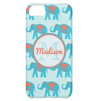 Capa Para iPhone 5C Turquesa da cerceta, elefantes azuis no nome da