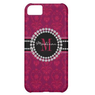 Capa Para iPhone 5C Vermelho carmesim, damasco magenta, nome e
