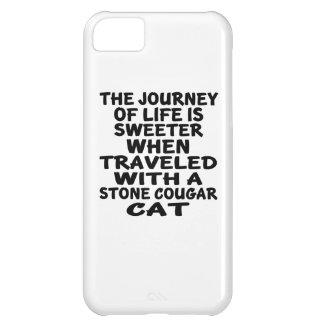 Capa Para iPhone 5C Viajado com o gato de pedra do puma