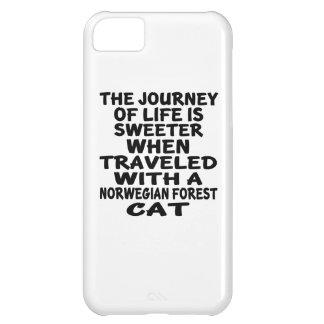 Capa Para iPhone 5C Viajado com o gato norueguês do gato da floresta