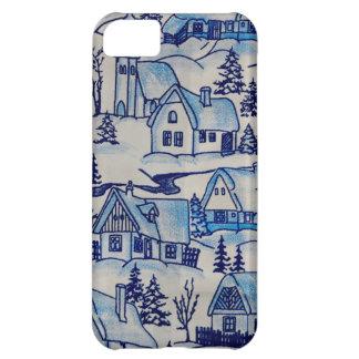Capa Para iPhone 5C Vila azul do feriado do Natal do vintage