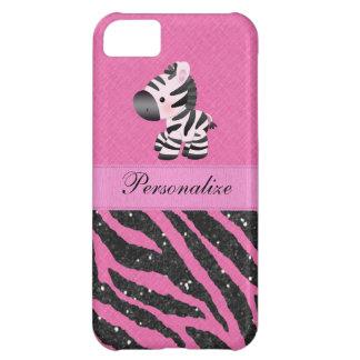 Capa Para iPhone 5C Zebra & impressão animal do brilho cor-de-rosa &