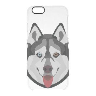 Capa Para iPhone 6/6S Transparente A ilustração persegue o rouco Siberian da cara