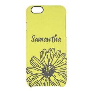 Capa Para iPhone 6/6S Transparente A margarida brilhante simples amarela do