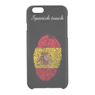 Capa Para iPhone 6/6S Transparente Bandeira da impressão digital do toque do espanhol