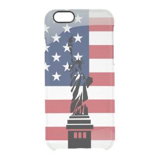 Capa Para iPhone 6/6S Transparente Bandeira lustrosa dos Estados Unidos da América